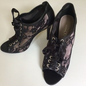 Black Lace Up Peep Toe Ankle Boots-Booties 8.5 M